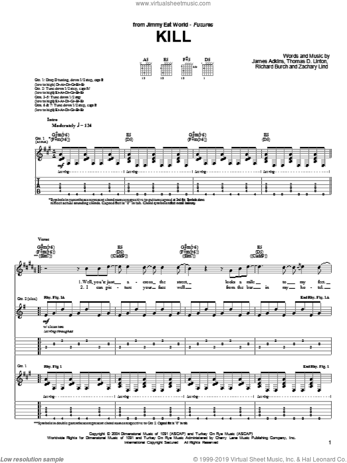 Kill sheet music for guitar (tablature) by Zachary Lind