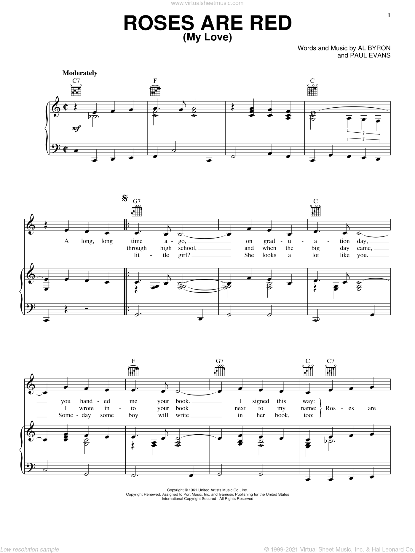 Roses Are Red, My Love sheet music for voice, piano or guitar by Paul Evans