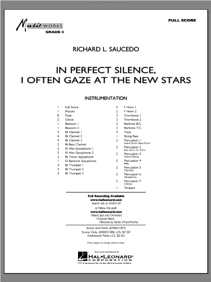 In Perfect Silence, I Often Gaze at the New Stars sheet music for concert band (full score) by Richard L. Saucedo