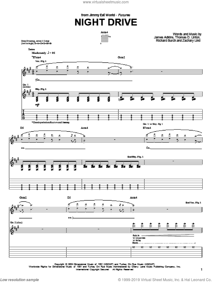 Night Drive sheet music for guitar (tablature) by Jimmy Eat World, James Adkins, Richard Burch and Zachary Lind. Score Image Preview.