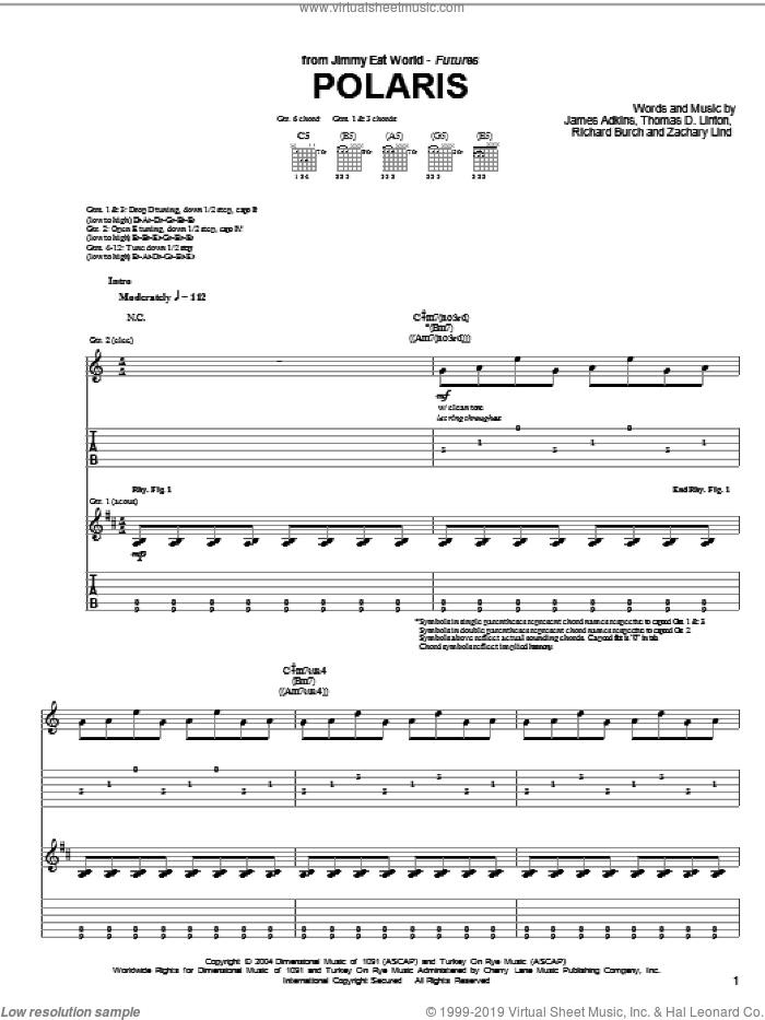 Polaris sheet music for guitar (tablature) by Jimmy Eat World, James Adkins, Richard Burch, Thomas D.Linton and Zachary Lind, intermediate. Score Image Preview.