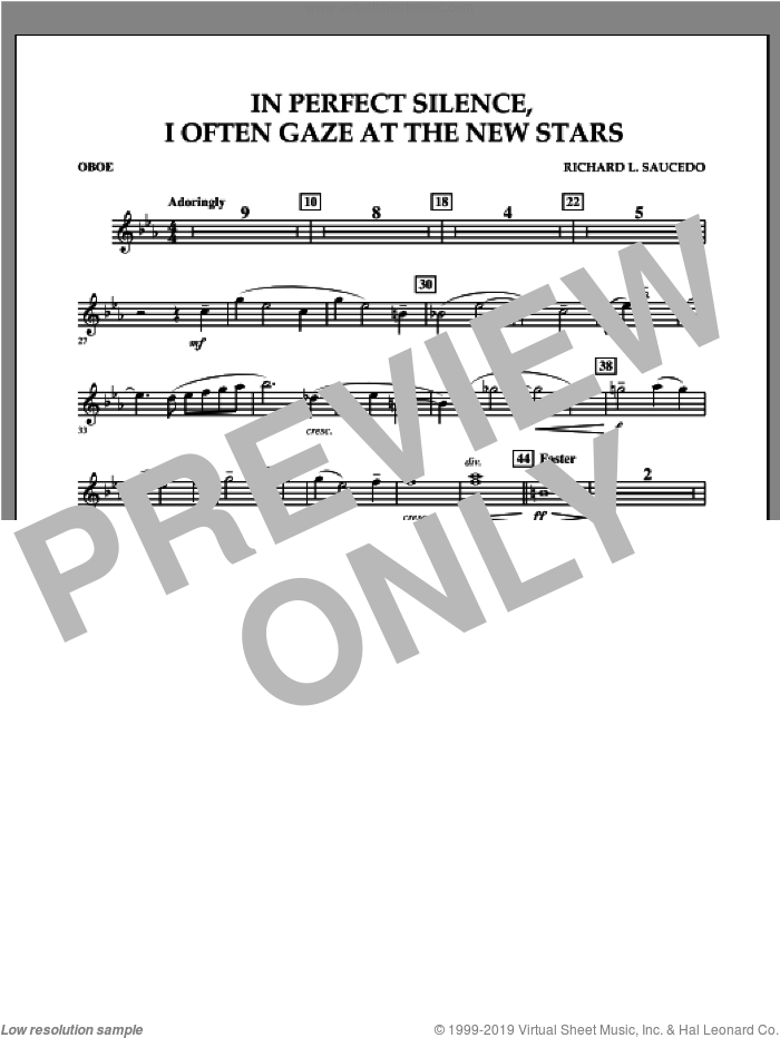 In Perfect Silence, I Often Gaze at the New Stars sheet music for concert band (oboe) by Richard L. Saucedo