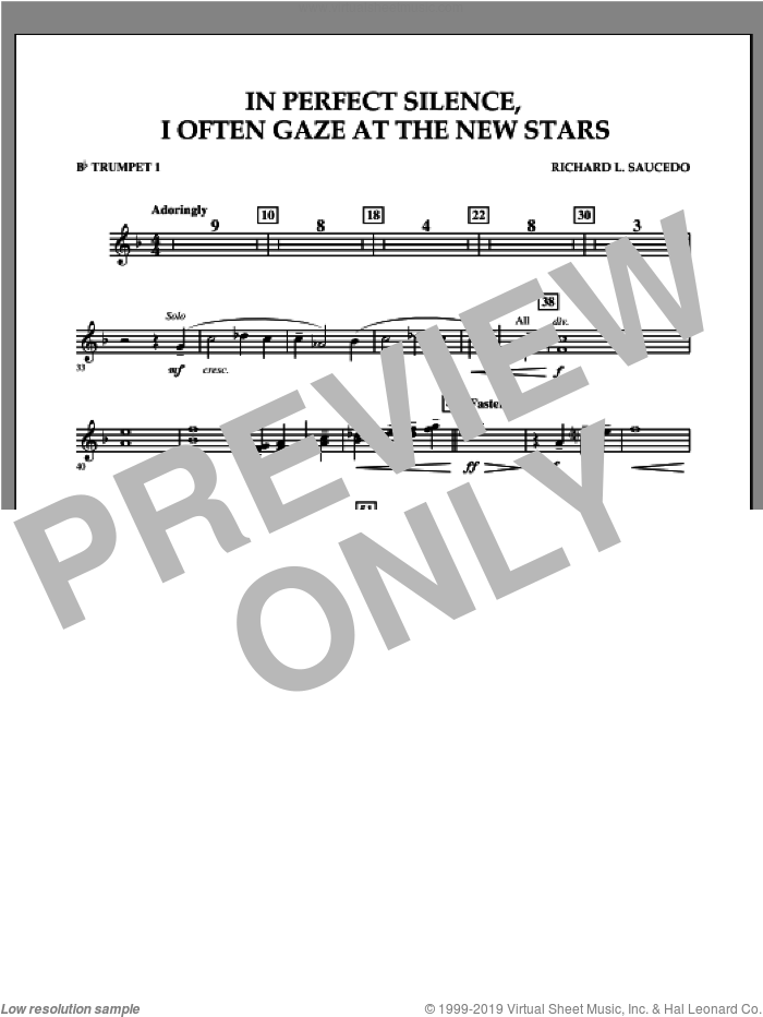 In Perfect Silence, I Often Gaze at the New Stars sheet music for concert band (Bb trumpet 1) by Richard L. Saucedo