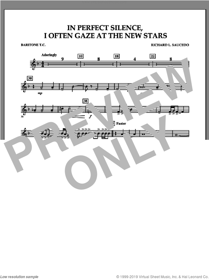 In Perfect Silence, I Often Gaze at the New Stars sheet music for concert band (baritone t.c.) by Richard L. Saucedo