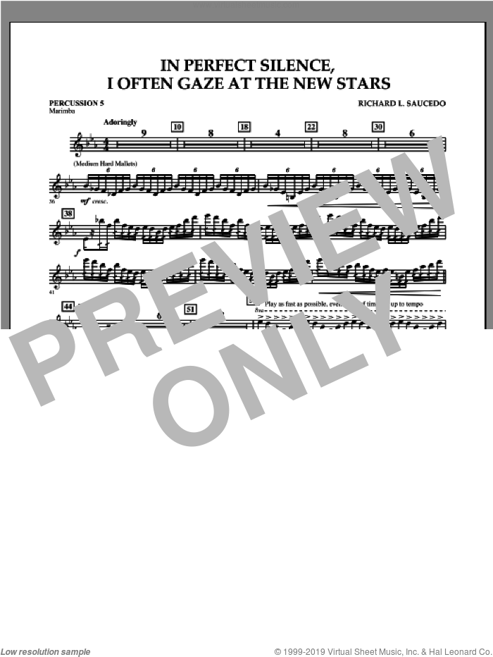 In Perfect Silence, I Often Gaze at the New Stars sheet music for concert band (percussion 5) by Richard L. Saucedo