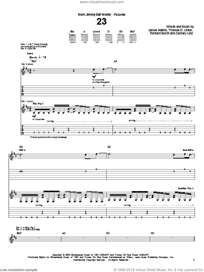 23 sheet music for guitar (tablature) by Jimmy Eat World, James Adkins, Richard Burch and Zachary Lind