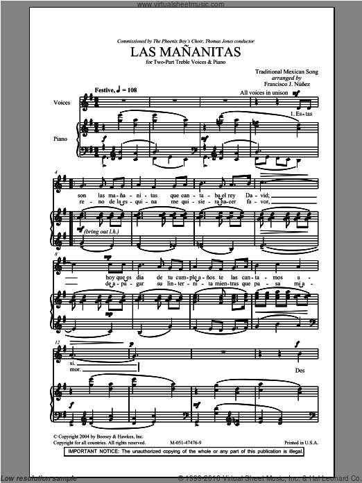 Las Mananitas sheet music for choir and piano (duets) by Paul Hill