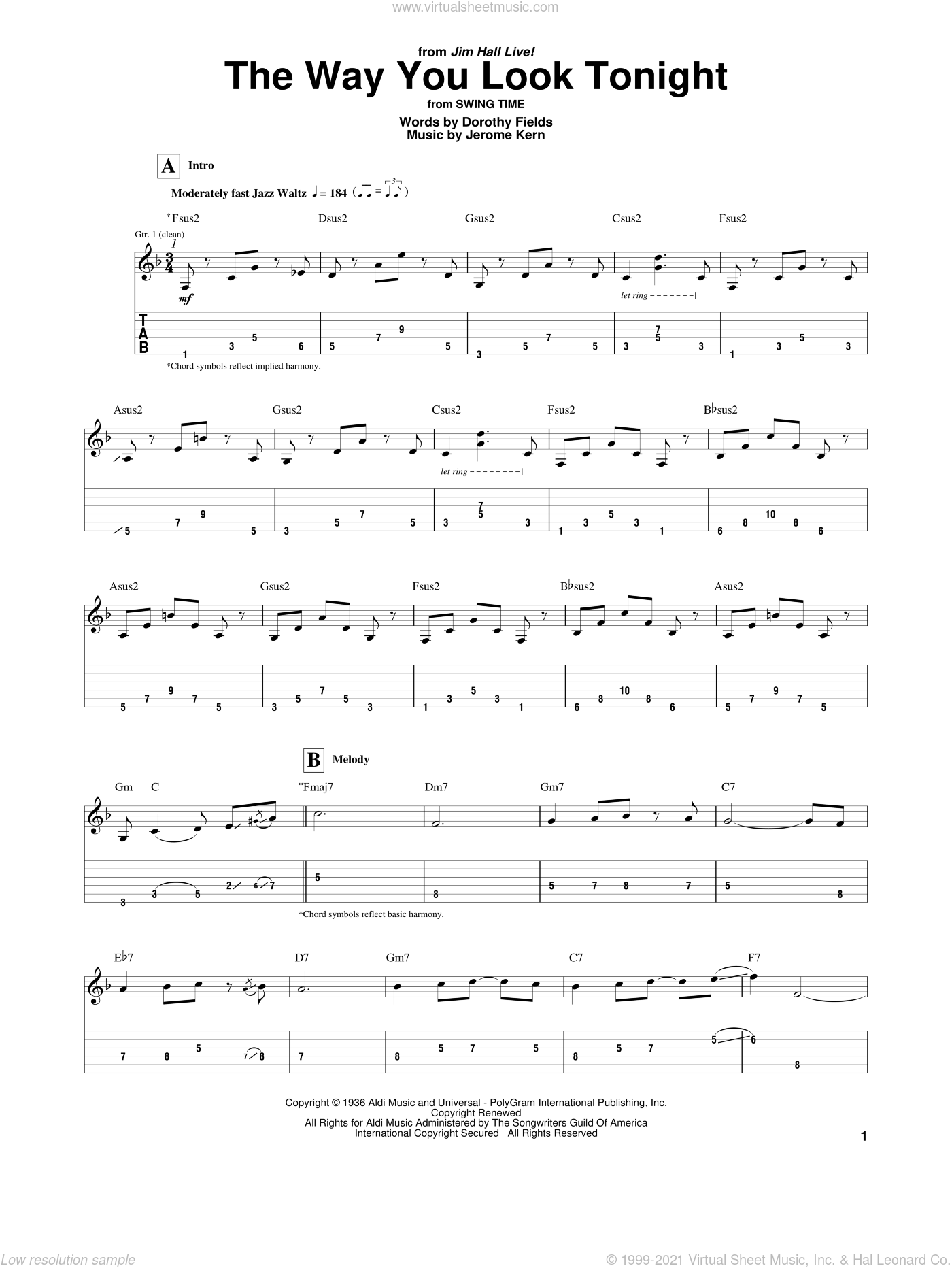 The Way You Look Tonight sheet music for guitar (tablature) by Dorothy Fields, Jim Hall and Jerome Kern. Score Image Preview.