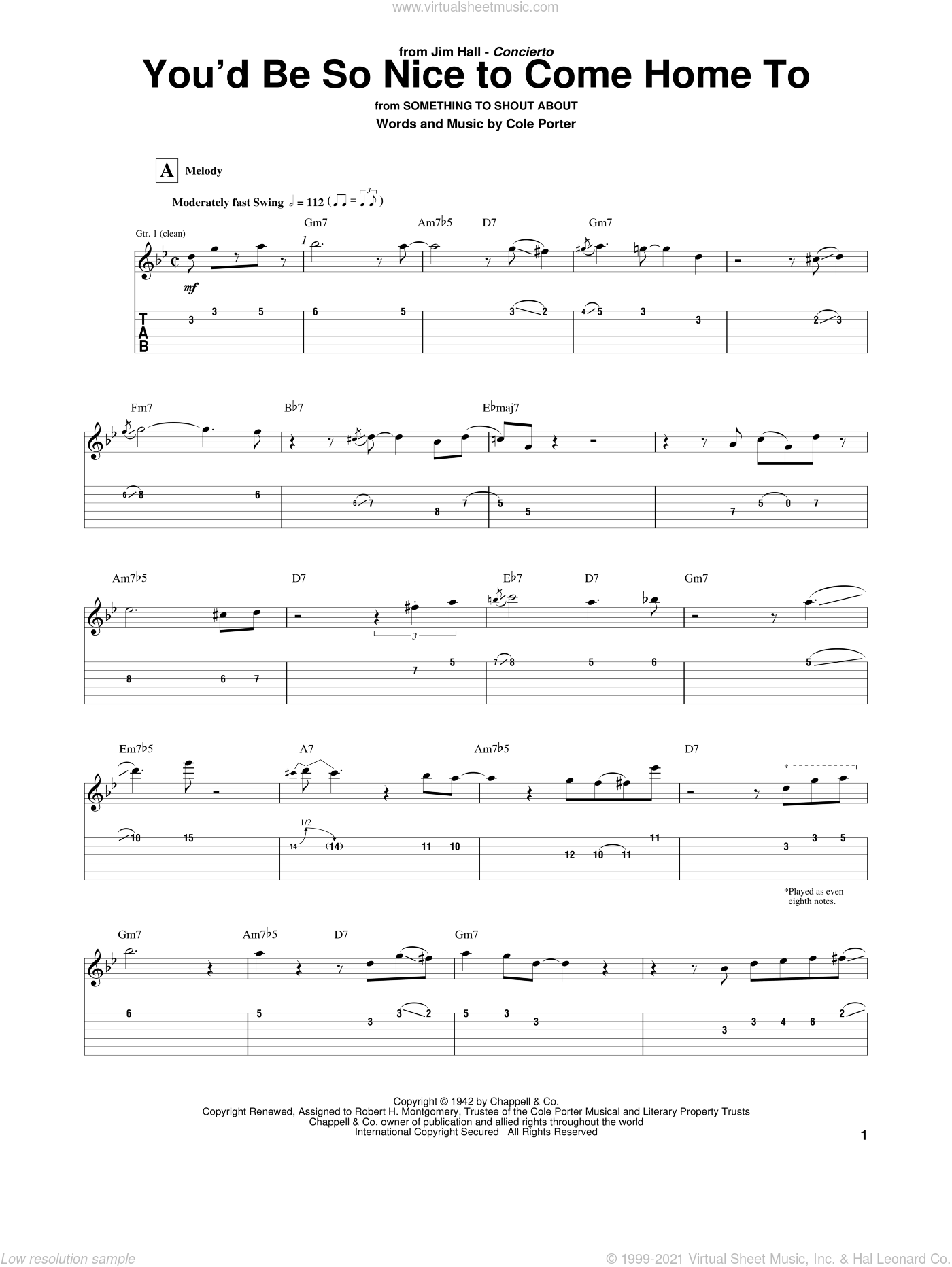 You'd Be So Nice To Come Home To sheet music for guitar (tablature) by Jim Hall and Cole Porter. Score Image Preview.