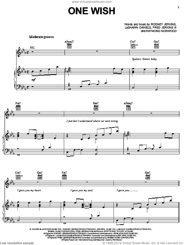 One Wish sheet music for voice, piano or guitar by Ray J, Fred Jerkins III, LaShawn Daniels and Rodney Jerkins. Score Image Preview.