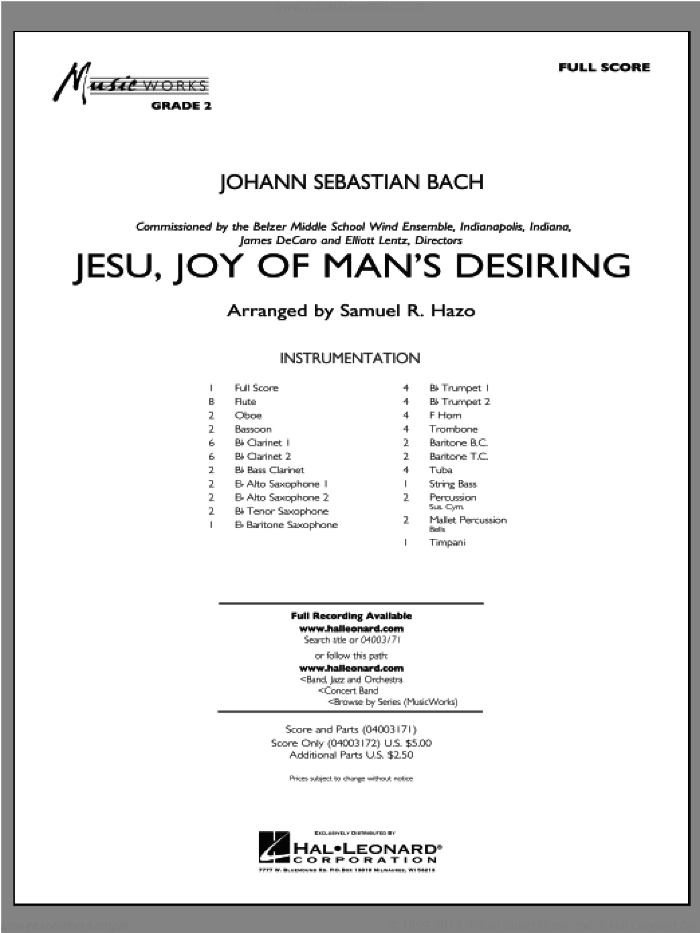Jesu, Joy Of Man's Desiring (COMPLETE) sheet music for concert band by Johann Sebastian Bach and Samuel R. Hazo, classical score, intermediate skill level