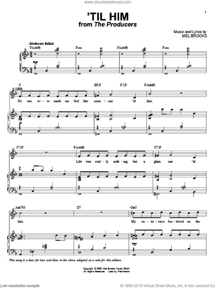 'Til Him sheet music for voice and piano by Mel Brooks and The Producers (Musical), intermediate skill level