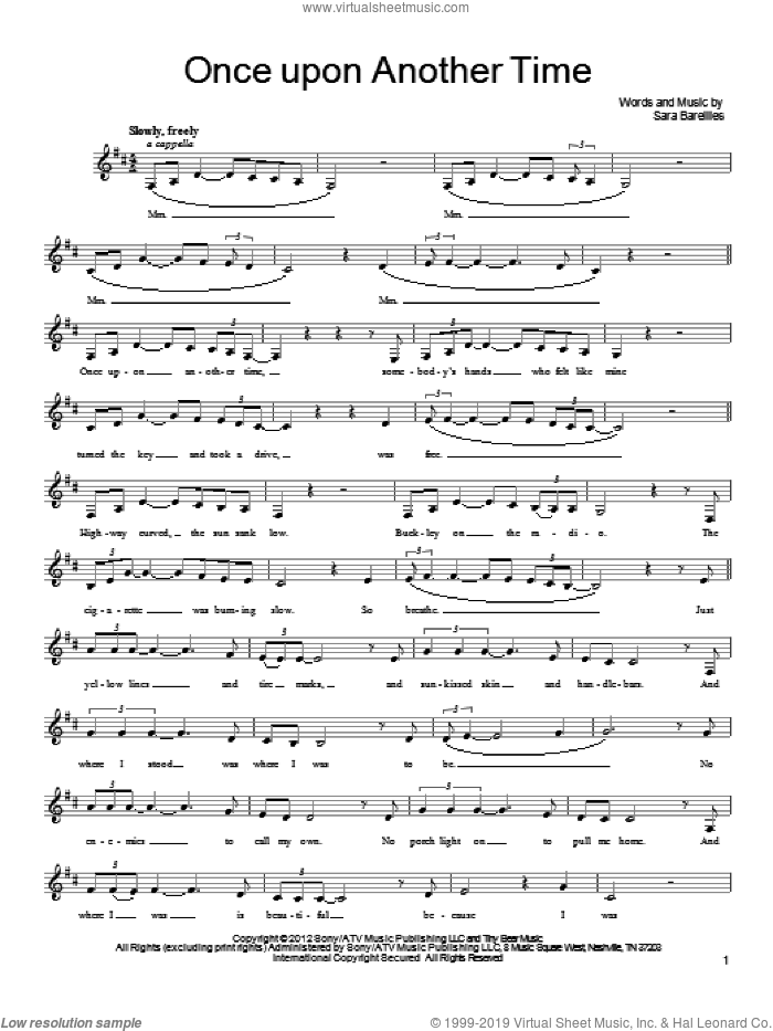 Once Upon Another Time sheet music for voice, piano or guitar by Sara Bareilles. Score Image Preview.