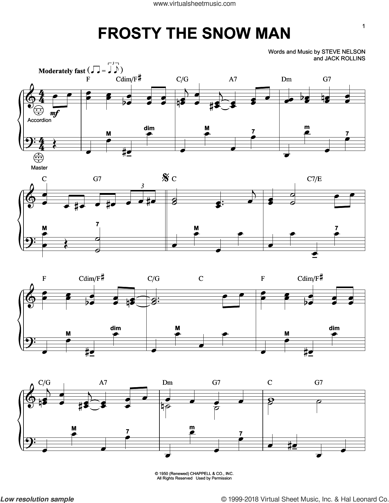 Frosty The Snow Man sheet music for accordion by Steve Nelson and Jack Rollins, Christmas carol score, intermediate accordion. Score Image Preview.