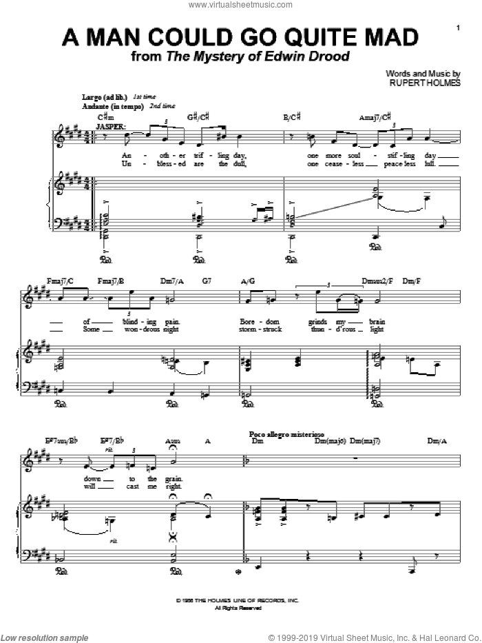 A Man Could Go Quite Mad sheet music for voice and piano by Rupert Holmes. Score Image Preview.