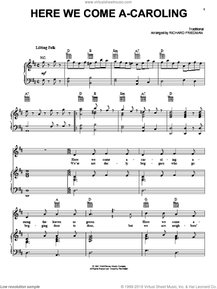 Here We Come A-Caroling sheet music for voice, piano or guitar. Score Image Preview.