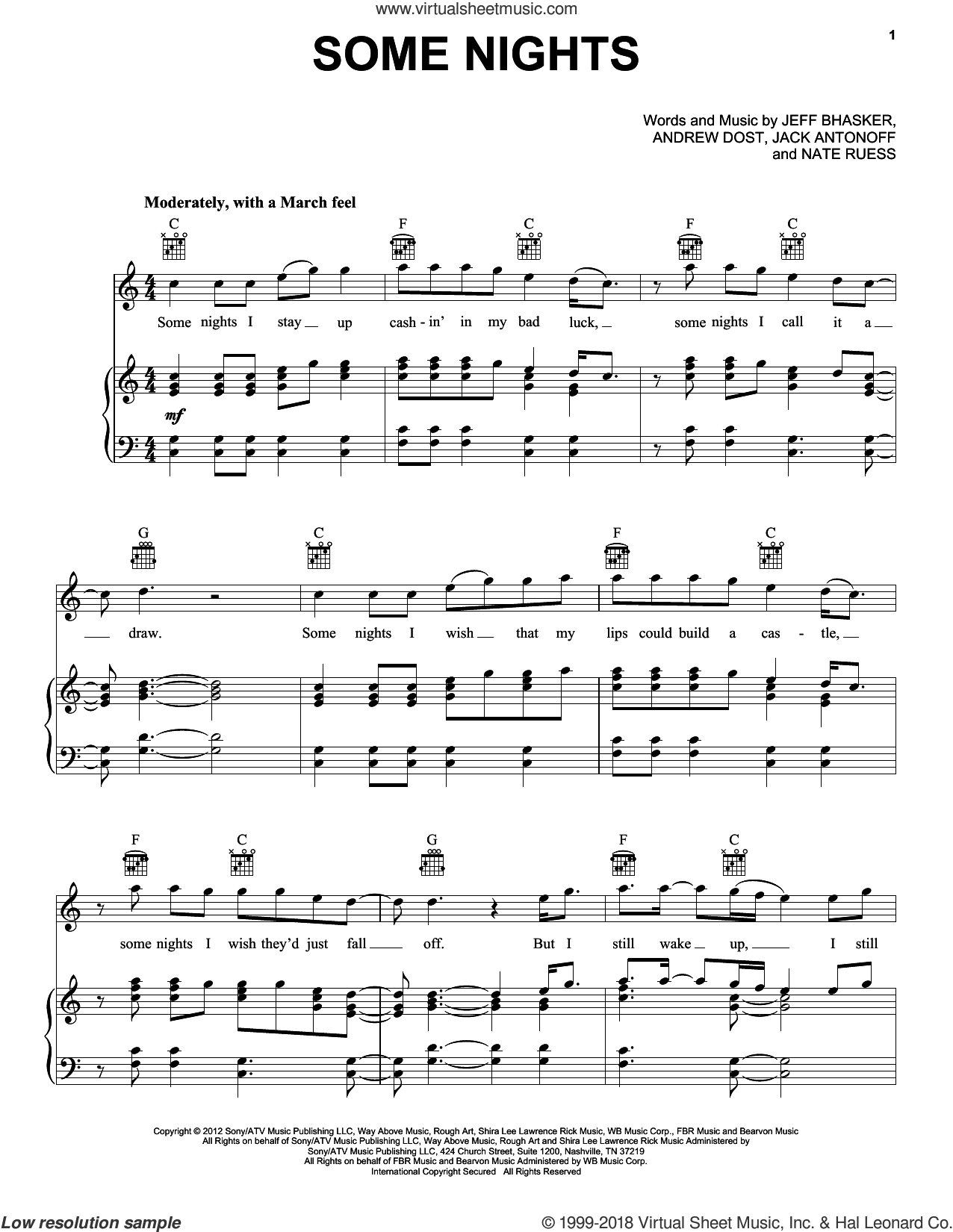 Some Nights sheet music for voice, piano or guitar by Fun, Andrew Dost, Jack Antonoff, Jeff Bhasker and Nathaniel Ruess, intermediate skill level