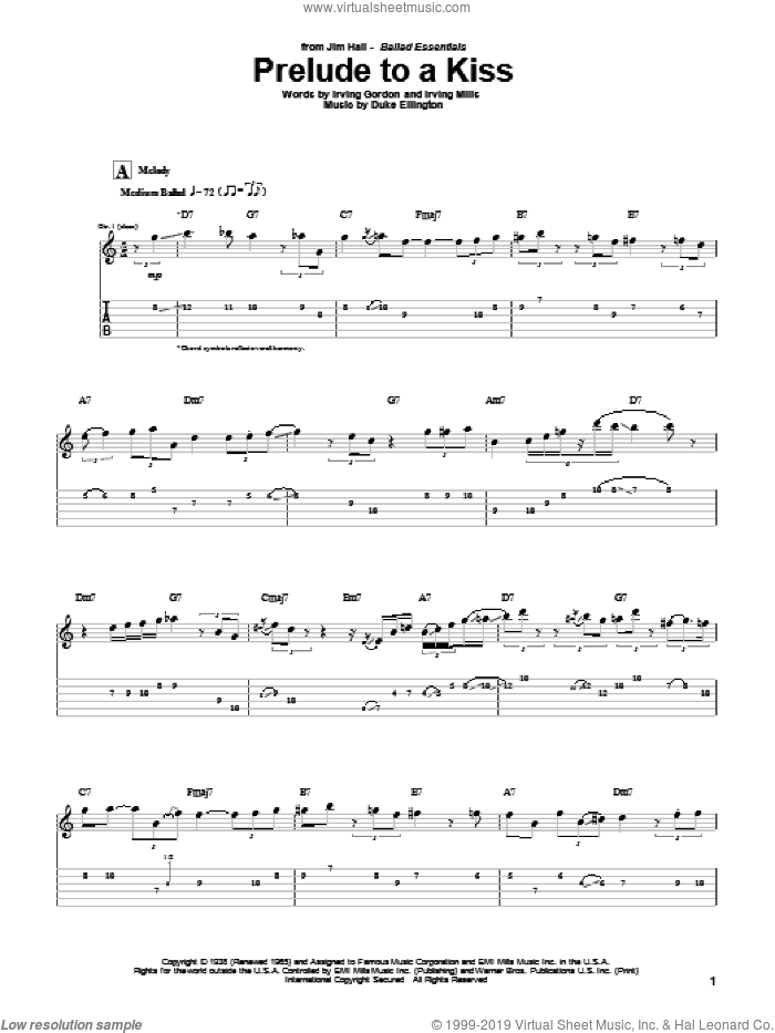 Prelude To A Kiss sheet music for guitar (tablature) by Irving Mills, Jim Hall, Duke Ellington and Irving Gordon. Score Image Preview.