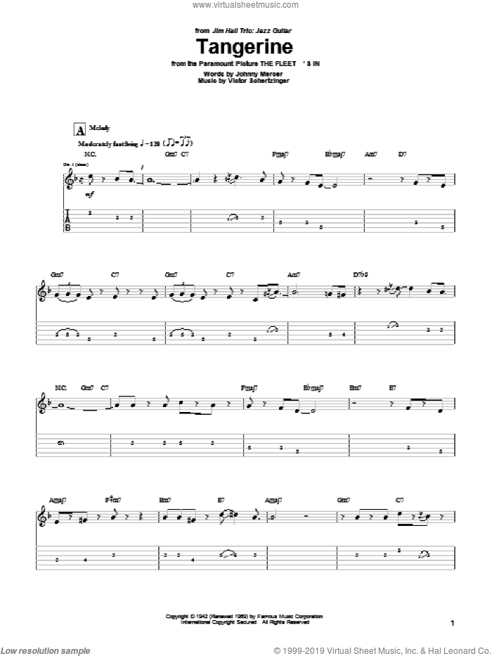 Tangerine sheet music for guitar (tablature) by Jim Hall, Johnny Mercer and Victor Schertzinger, intermediate skill level