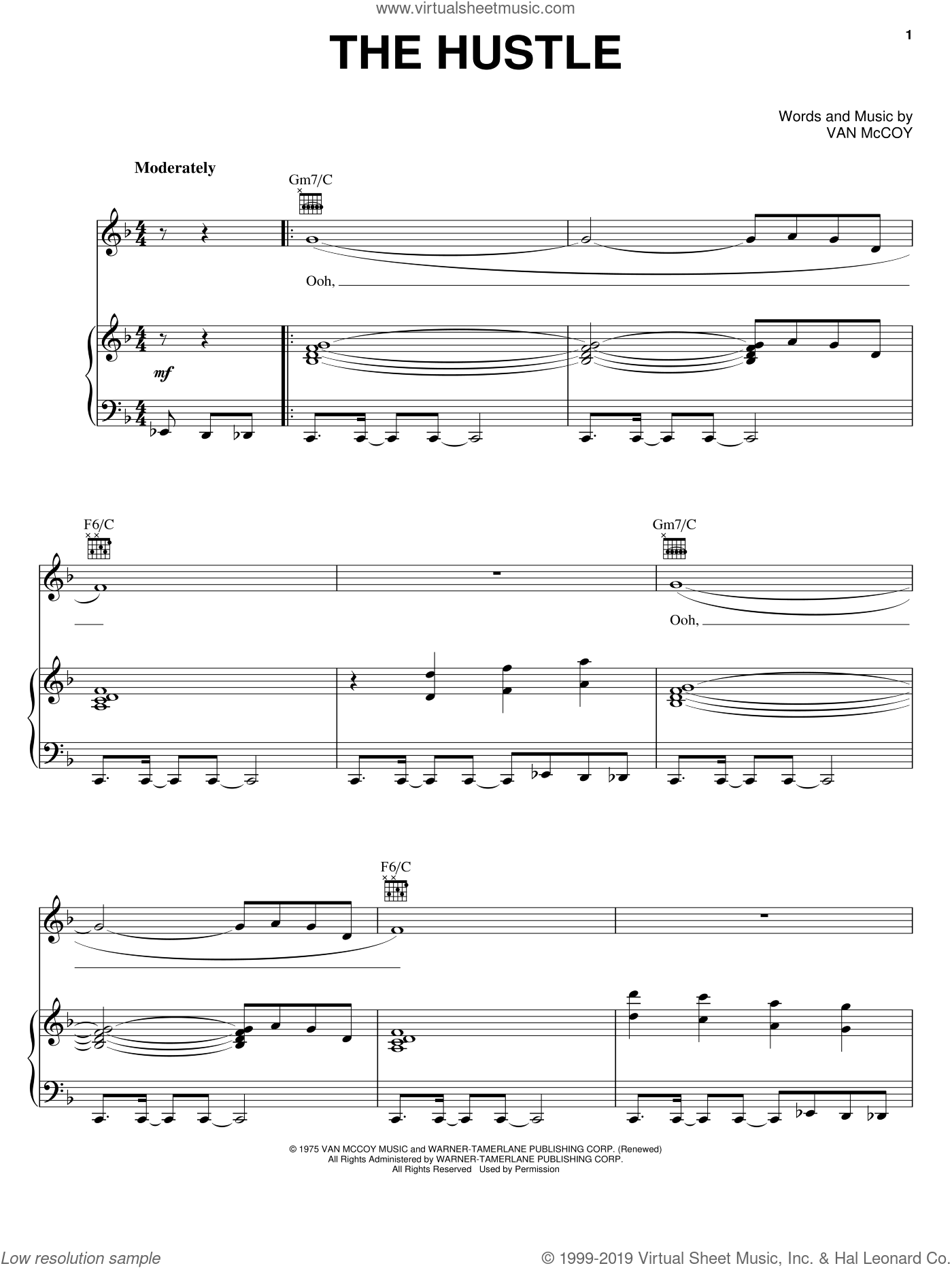 The Hustle sheet music for voice, piano or guitar by Van McCoy & The Soul City Symphony, Soul City Symphony and Van McCoy, intermediate skill level