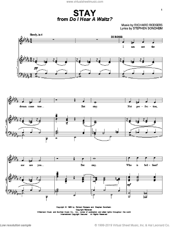 Stay sheet music for voice and piano by Stephen Sondheim and Richard Rodgers, intermediate skill level