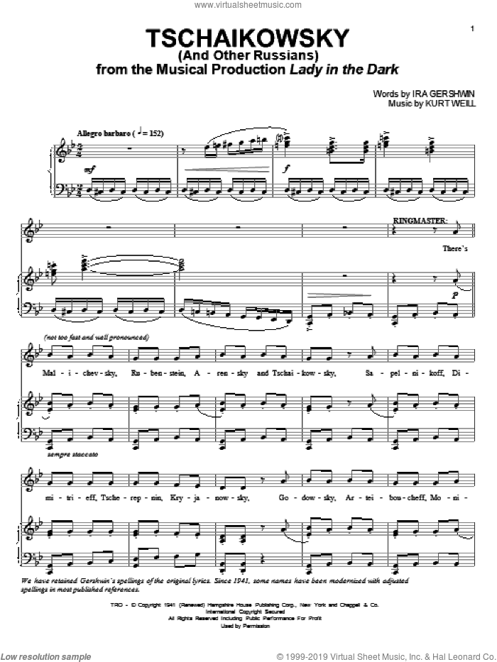 Tschaikowsky (And Other Russians) sheet music for voice and piano by Ira Gershwin and Kurt Weill. Score Image Preview.