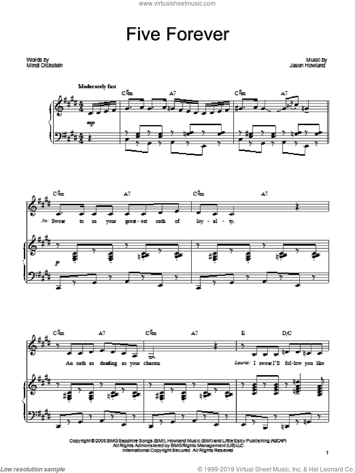 Five Forever sheet music for voice, piano or guitar by Mindi Dickstein and Jason Howland. Score Image Preview.