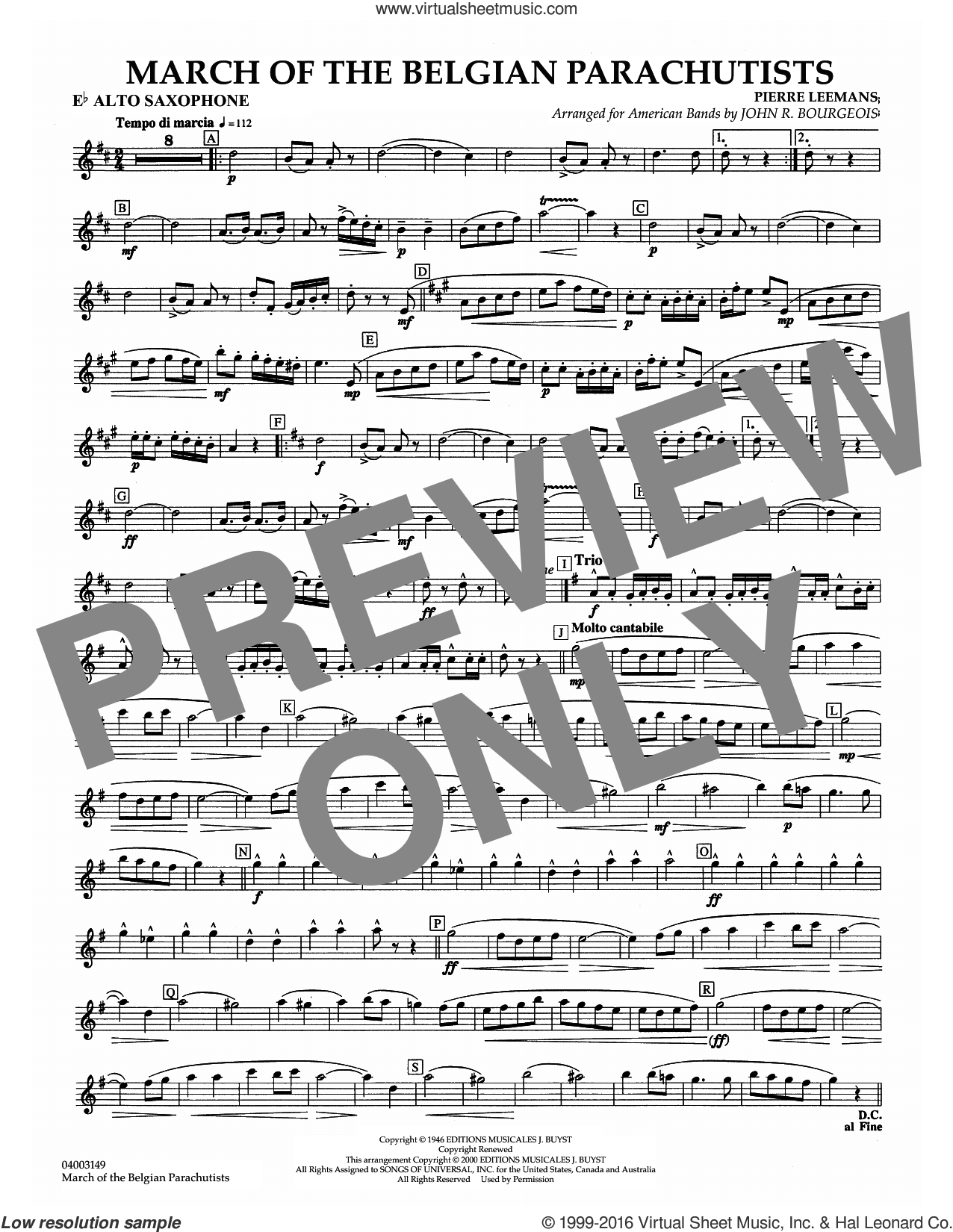 March Of The Belgian Parachutists sheet music for concert band (Eb alto saxophone) by Pierre Leemans