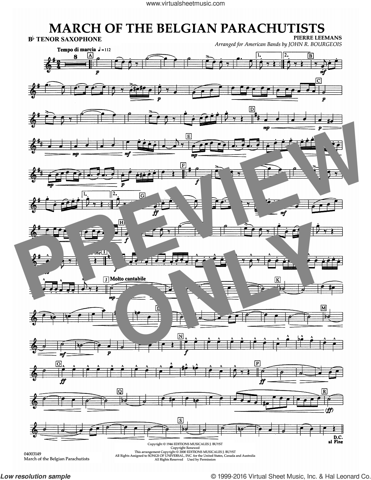 March Of The Belgian Parachutists sheet music for concert band (Bb tenor saxophone) by Pierre Leemans