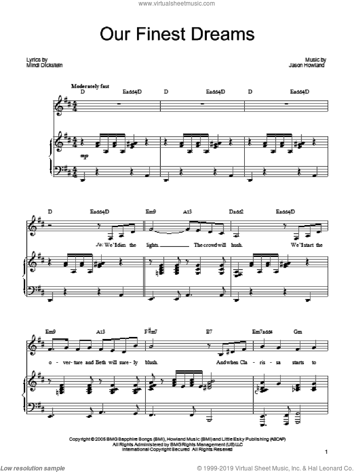 Our Finest Dreams sheet music for voice, piano or guitar by Mindi Dickstein
