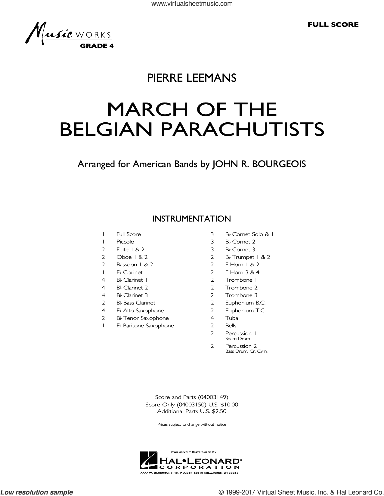 March Of The Belgian Parachutists (COMPLETE) sheet music for concert band by John R. Bourgeois, intermediate. Score Image Preview.