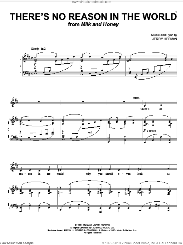 There's No Reason In The World sheet music for voice and piano by Jerry Herman, intermediate skill level