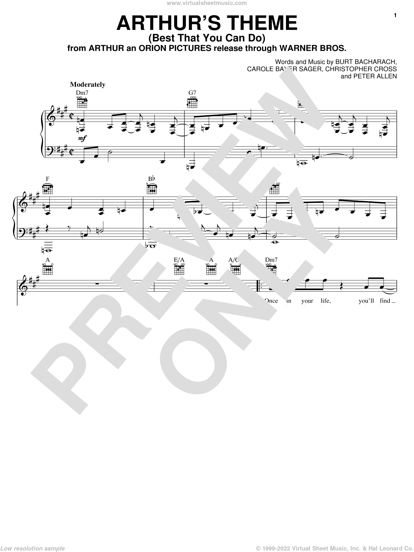 Arthur's Theme (Best That You Can Do) sheet music for voice, piano or guitar by Burt Bacharach, Carole Bayer Sager, Christopher Cross and Peter Allen, intermediate skill level