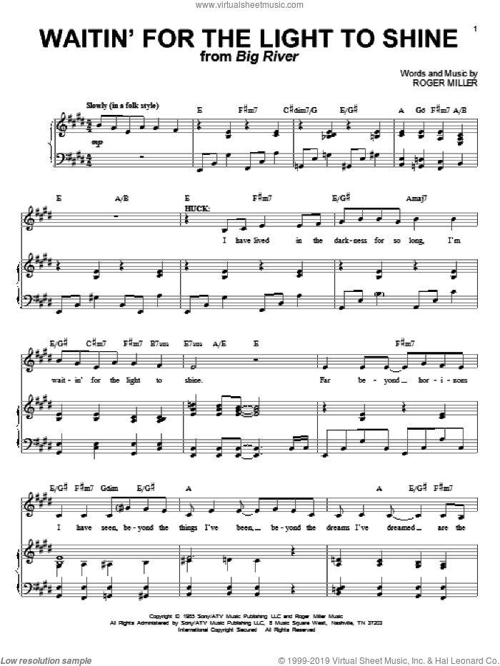 Waitin' For The Light To Shine sheet music for voice and piano by Roger Miller, intermediate skill level