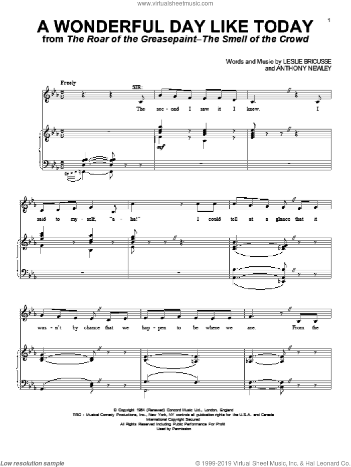 A Wonderful Day Like Today sheet music for voice and piano by Leslie Bricusse and Anthony Newley, intermediate skill level