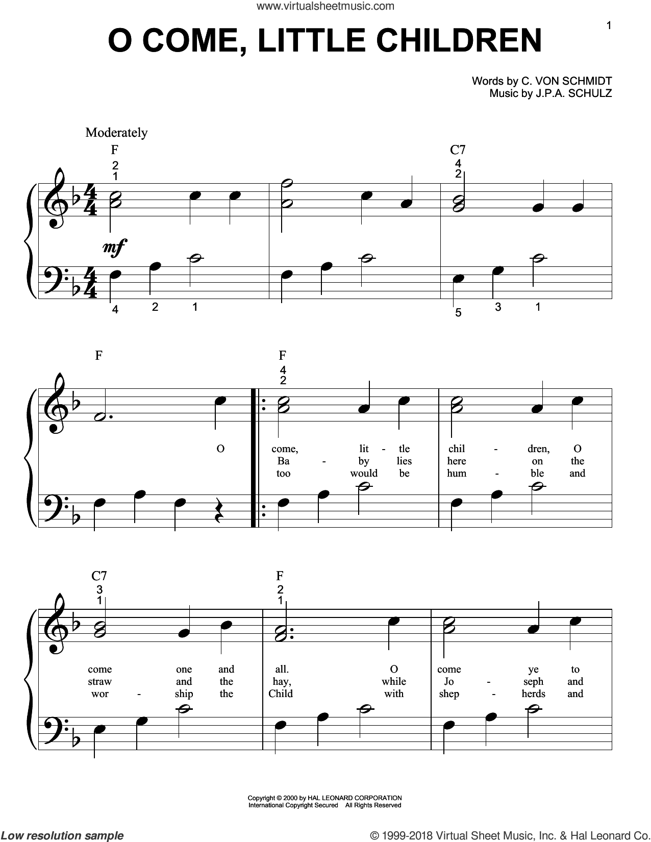 O Come, Little Children sheet music for piano solo (big note book) by J.A.P. Schulz and Cristoph Von Schmid. Score Image Preview.