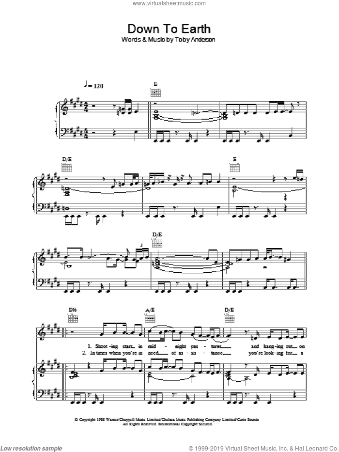 Down To Earth sheet music for voice, piano or guitar by Toby Anderson and Curiosity Killed The Cat. Score Image Preview.