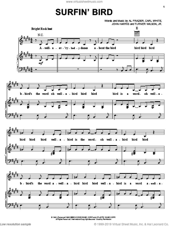 Surfin' Bird sheet music for voice, piano or guitar by The Trashmen, Al Frazier, Carl White and John Harris, intermediate skill level