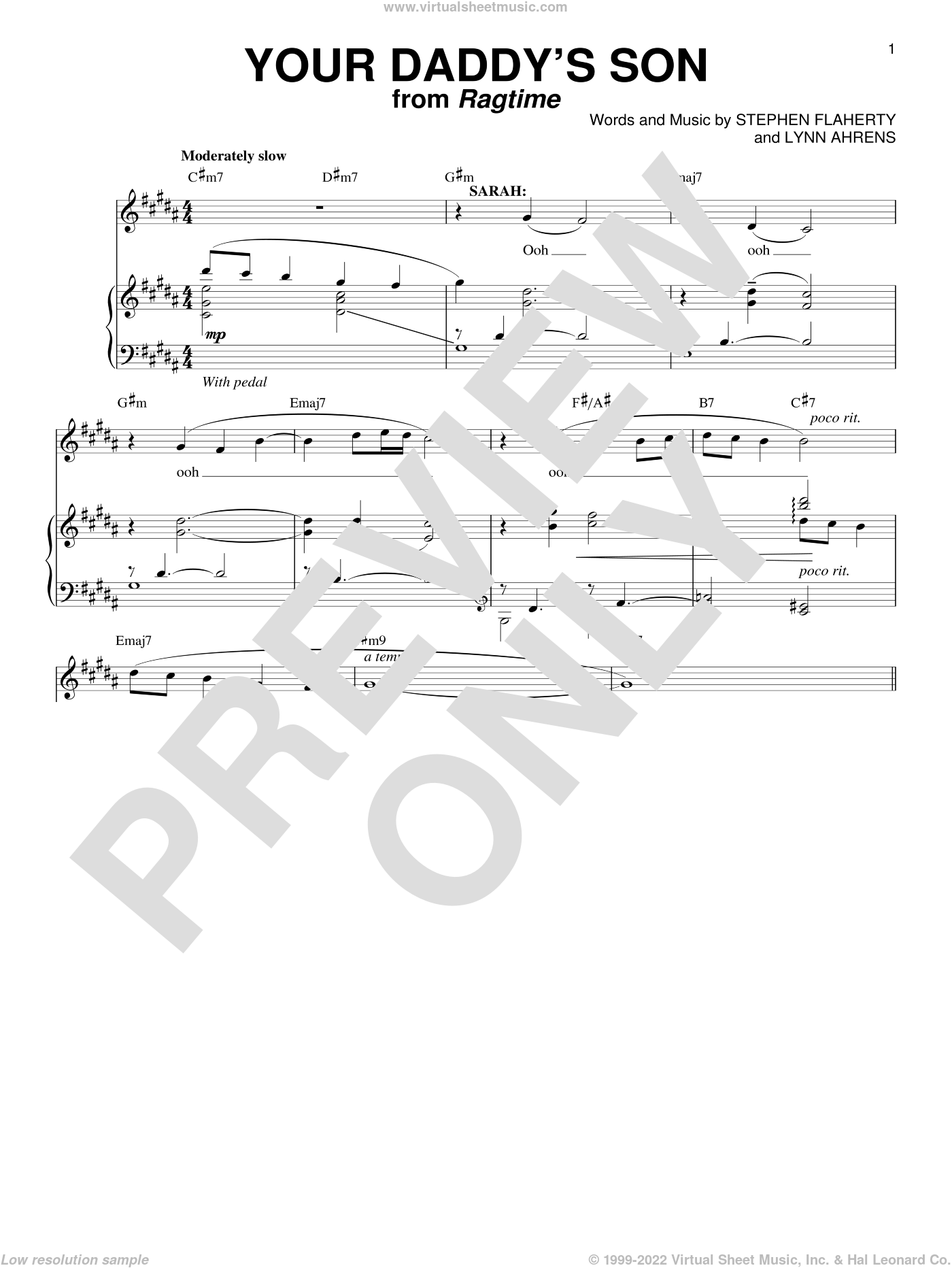 Your Daddy's Son sheet music for voice and piano by Stephen Flaherty, Lynn Ahrens and Richard Walters, intermediate skill level
