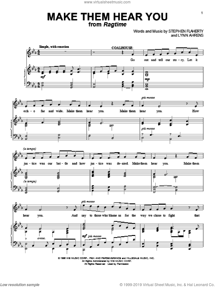 Make Them Hear You sheet music for voice and piano by Stephen Flaherty and Lynn Ahrens, intermediate skill level