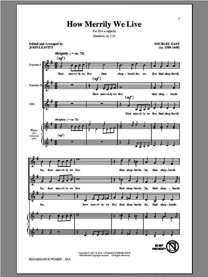 How Merrily We Live sheet music for choir (soprano voice, alto voice, choir) by John Leavitt and Michael East, intermediate choir (soprano voice, alto voice, choir). Score Image Preview.
