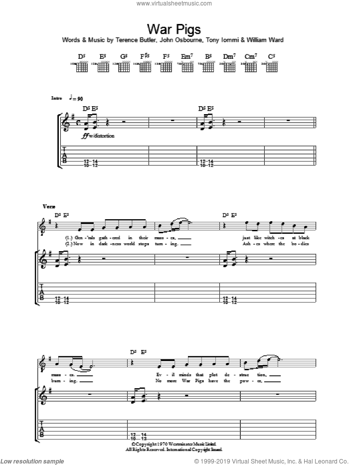 War Pigs sheet music for guitar (tablature) by Black Sabbath, Faith No More and Ozzy Osbourne, intermediate guitar (tablature). Score Image Preview.