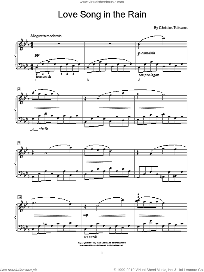 Love Song In The Rain sheet music for piano solo (elementary) by Christos Tsitsaros. Score Image Preview.