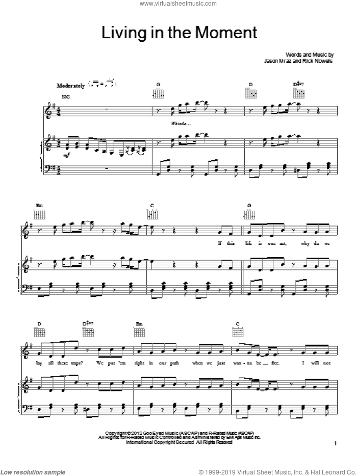 Living In The Moment sheet music for voice, piano or guitar by Jason Mraz and Rick Nowels. Score Image Preview.