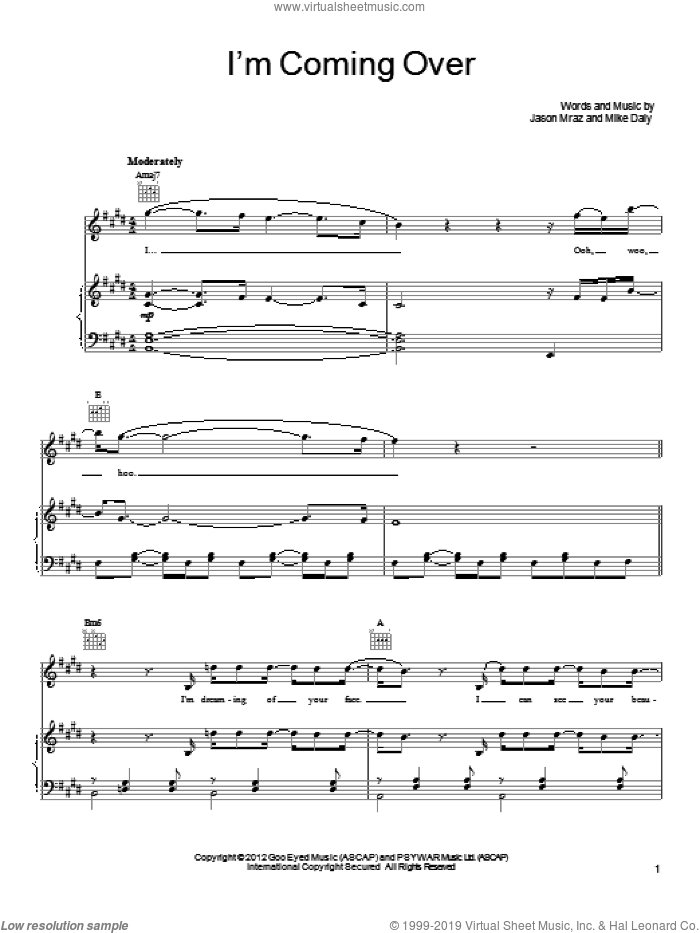 I'm Coming Over sheet music for voice, piano or guitar by Mike Daly and Jason Mraz. Score Image Preview.