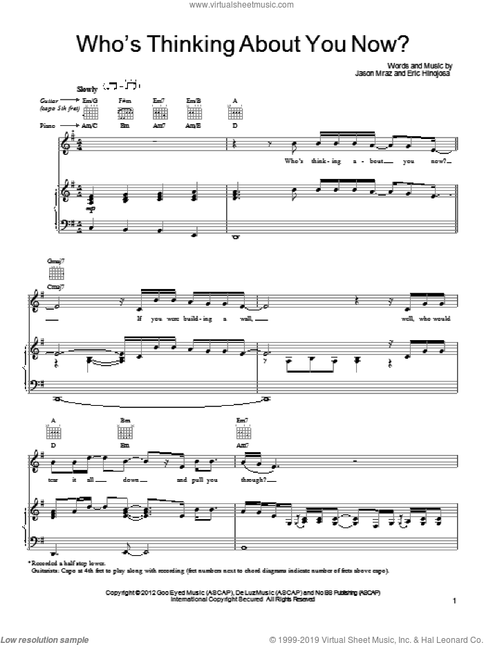 Who's Thinking About You Now? sheet music for voice, piano or guitar by Eric Hinojosa and Jason Mraz. Score Image Preview.