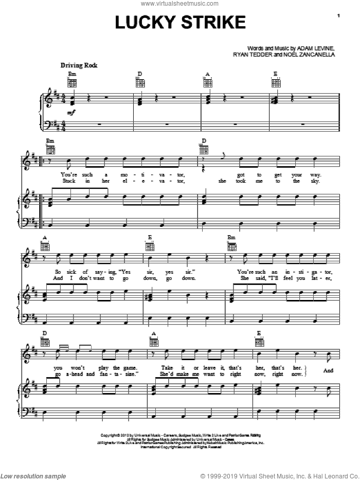 Lucky Strike sheet music for voice, piano or guitar by Maroon 5, Adam Levine, Noel Zancanella and Ryan Tedder, intermediate skill level