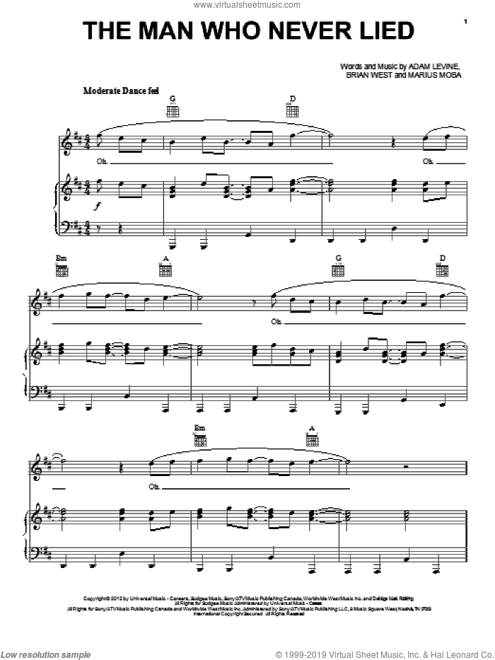The Man Who Never Lied sheet music for voice, piano or guitar by Maroon 5, Adam Levine, Brian West and Marius Moba, intermediate. Score Image Preview.