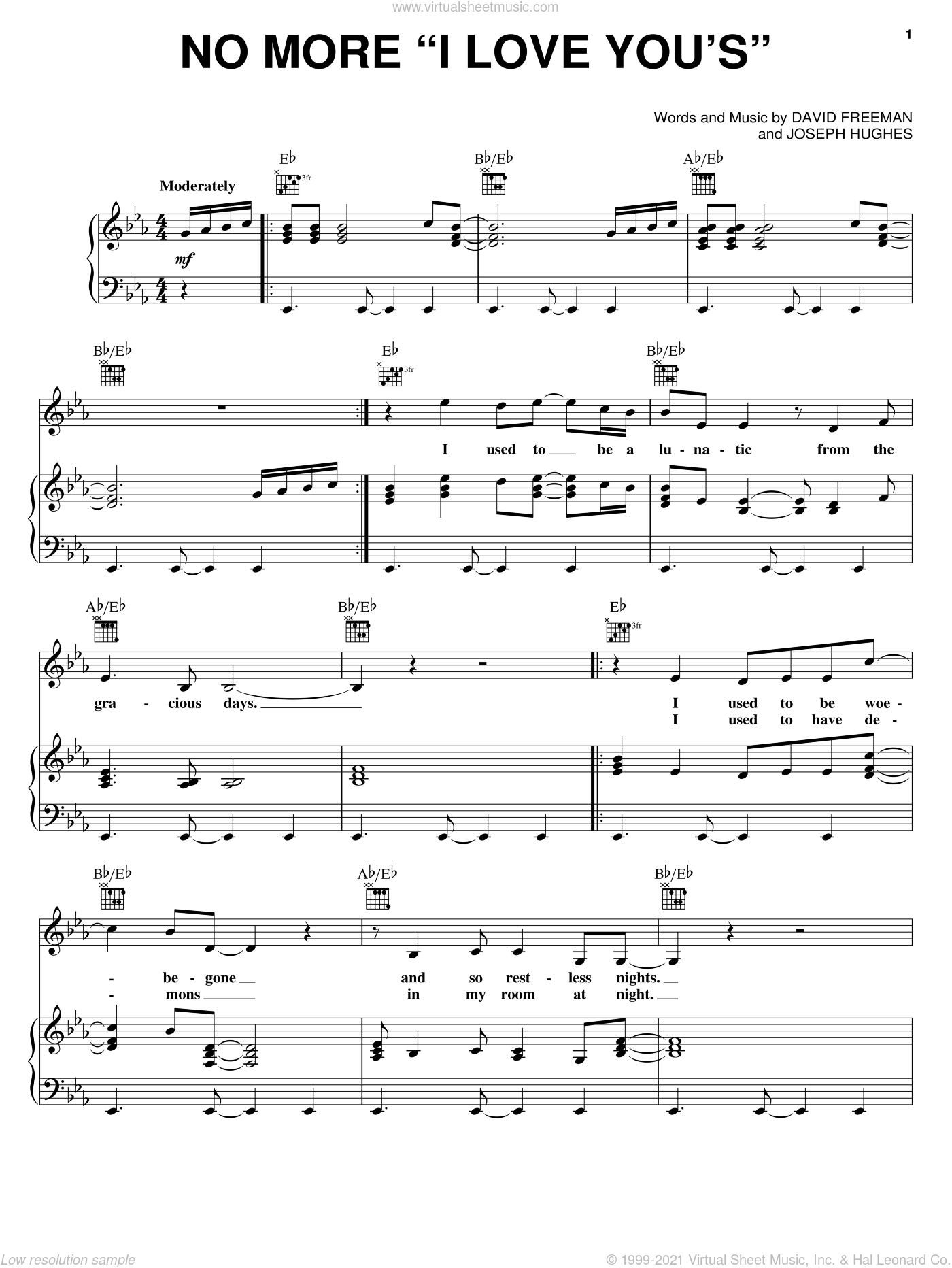 No More 'I Love You's' sheet music for voice, piano or guitar by Annie Lennox, David Freeman and Joseph Hughes, intermediate skill level