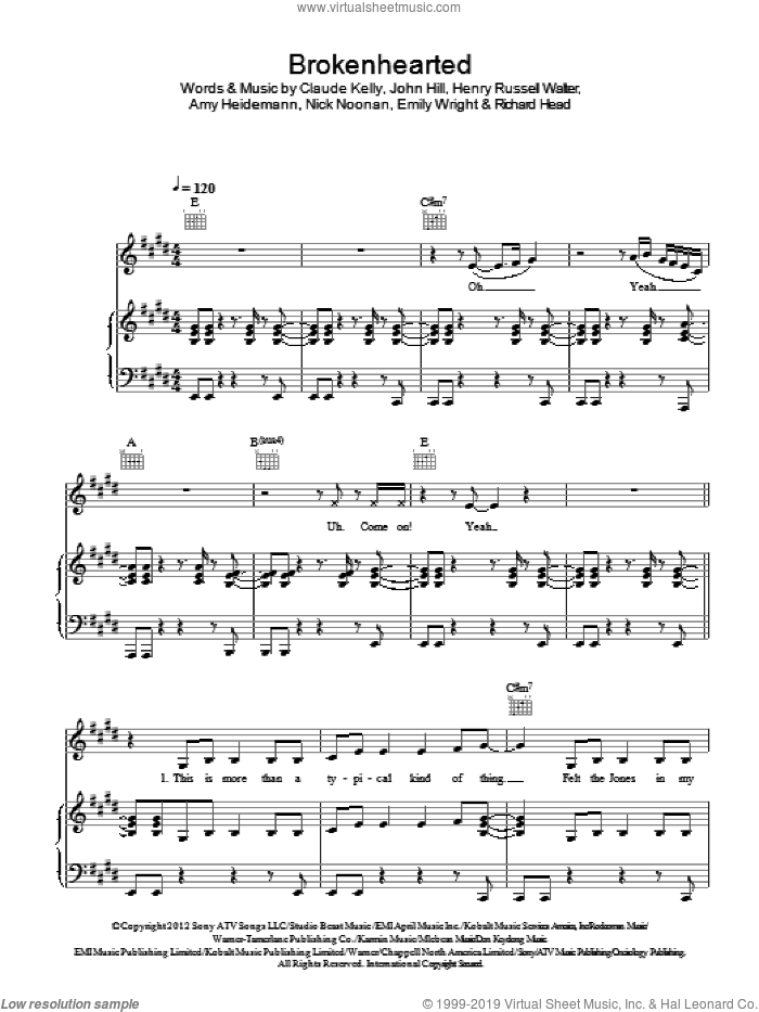 Brokenhearted sheet music for voice, piano or guitar by Karmin, Claude Kelly and John Hill, intermediate